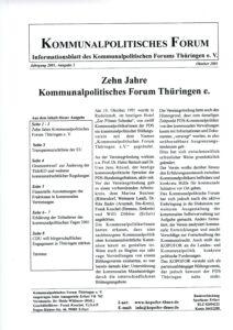 30 Jahre Thüringengestalter: Artikel zu 10 Jahre KoPoFor